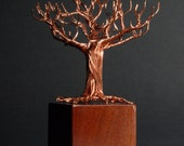Copper Wire Tree Sculpture on Mahogany Base