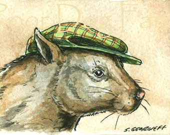 ACEO signed PRINT - Wombat in a Hat