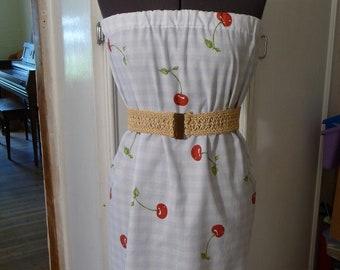 Red Cherries Dress, Pillowcase Dress, Handmade Dress, Recycled Pillowcase, Vintage Belt, Cherry, Unique Clothing,Blue White Red,Pretty Dress