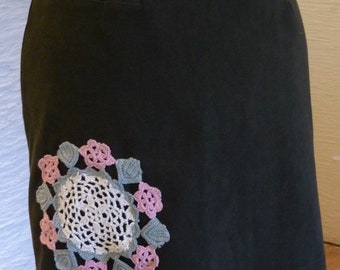 Green Skirt, Upcycled Skirt, Soft Suede Feel, Vintage Crochet Doily, Doily Applique, Pink Flowers, Unique Clothing, Fall Winter, Zipper,Cute