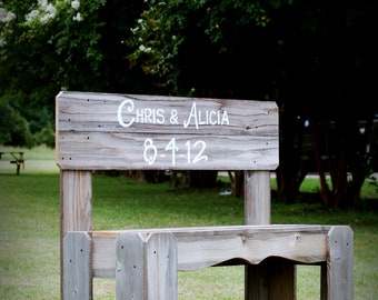Guest Book Bench Wedding Sign Gift His and Her Name Personalized Bench Wood Anniversary Gift. Rustic Wedding Decoration. Park Bench Shower