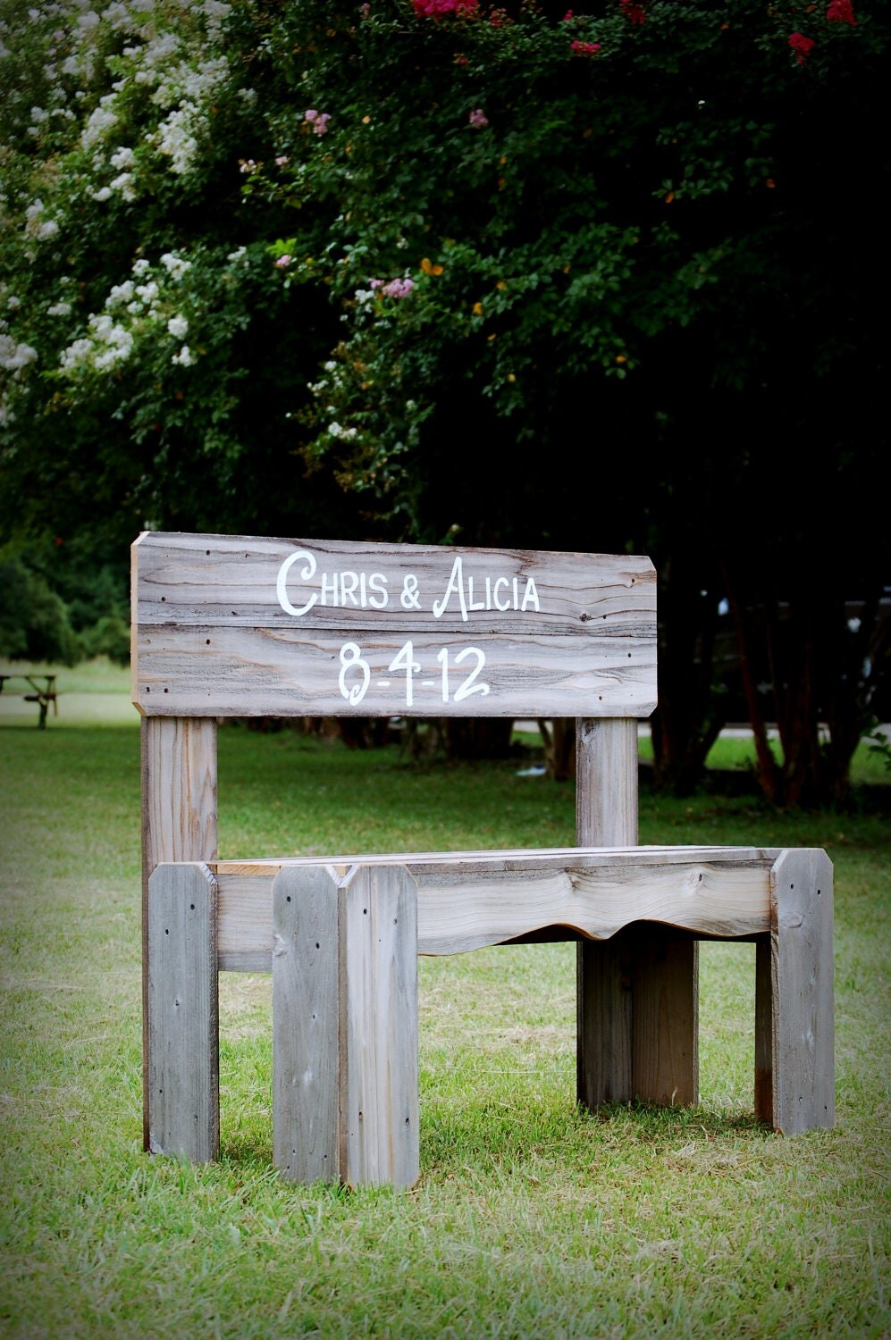 guest book bench wedding sign gift his and her name