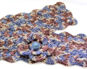 Navy Blue, Dark Brown and Taupe Crochet Scarflette with Flower, Buttoned Scarflette, Buttoned Neck Warmer, SC136-01