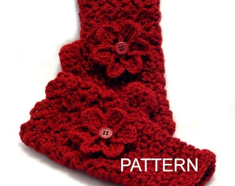 PATTERN - Crocheted Fingerless Gloves with Flower