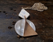 Vintage Mother of Pearl / Abalone and Copper Geometric Shapes Necklace / Pendant