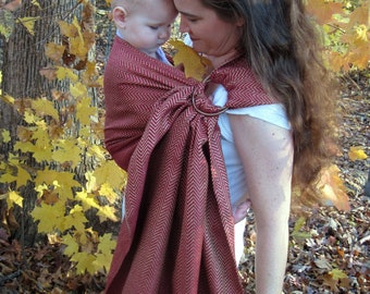 Silk Ring Sling Baby Carrier - Raw Silk in Scarlet and Gold - DVD included