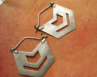 Sterling Silver Chevron Earrings, Big Silver Earrings, Large Hoop Earring, Rustic Argentium Earring Metalsmith Jewelry, Southwestern Jewelry
