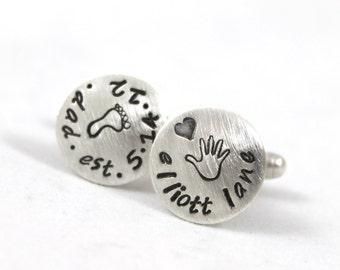 Inspirational, Sterling silver cufflinks, new dad cufflinks, personalized cuff links, mens personalized cufflinks, custom cuff links