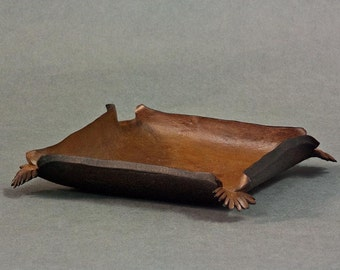 Great gift for men brown sculpted leather bowl No. 2492