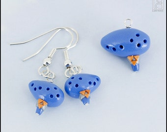 Zelda Ocarina Charm or Earrings (Made to Order)