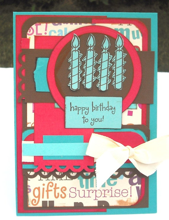 Happy Birthday Card, Red, Brown and Blue with 4 candles 4.25x5.5 inches and envelope included