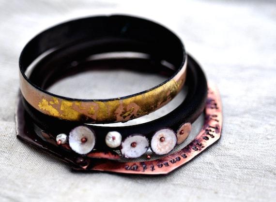 Enamel Wood Bangle Set - Poets & Madmen - Lord Byron: Sensation - Stacking Bracelets