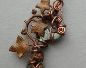Small Copper Ivy Vine Key Pendant -- Wire Wrapped Key Pendant with Antique Copper Ivy Leaves, Antique Copper Wire