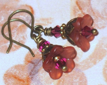 Antique Rose Lucite Flowers with Swarovski Crystals and Brass Earrings