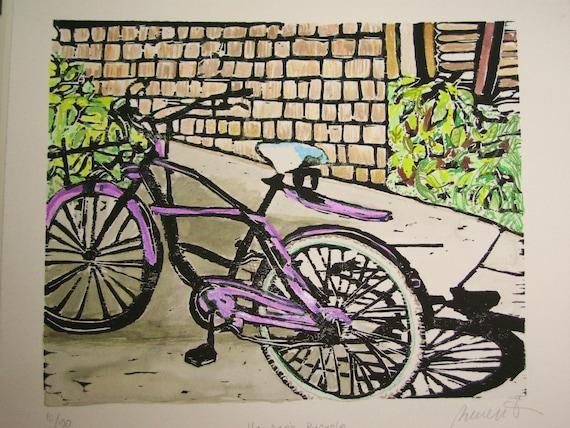 Harper's Bicycle - Original Woodblock Print