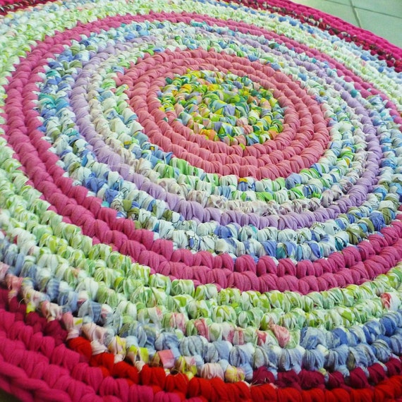 Eco Friendly Round Rag Rug (upcycled fabric crochet in pink multi)