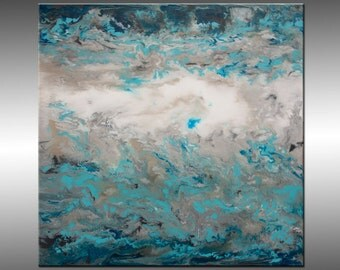 Jupiter 2 - Original Abstract Painting, Contemporary Modern Art Paintings Large Canvas Art, Liquid Home Decor, Silver Blue White Gray