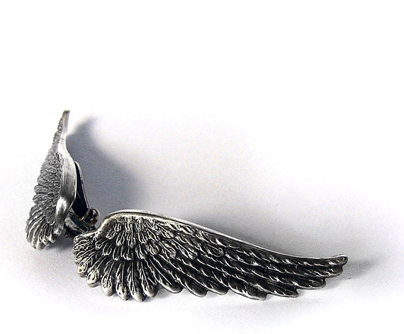 Gothic Angel Wing Earrings Silver wings Clip On Soldered Earrings Gothic Jewelry