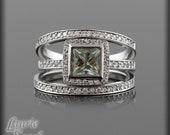 Engagement Ring, Sage Green Prasiolite Single Halo Half Eternity Diamond Wedding Ring Set - LS1916