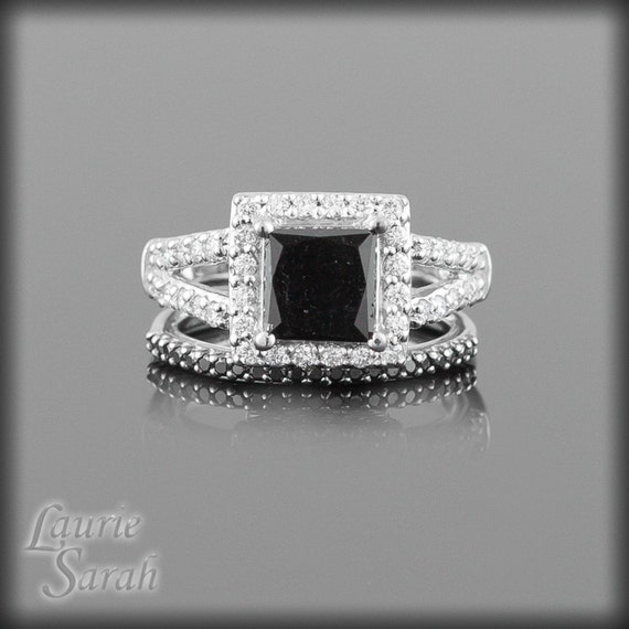 Black Diamond Engagement Ring Wedding Set with Black Diamond