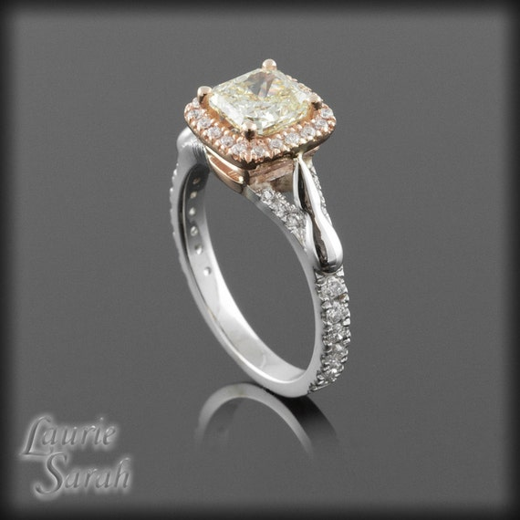 Diamond Engagement Ring Fancy Canary Yellow by LaurieSarahDesigns