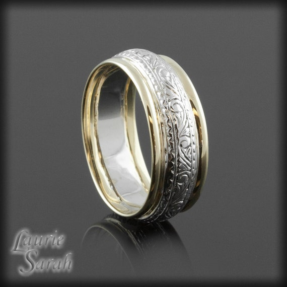 Man S Hand Bands: Hand Engraved Man's Wedding Band With Yellow By