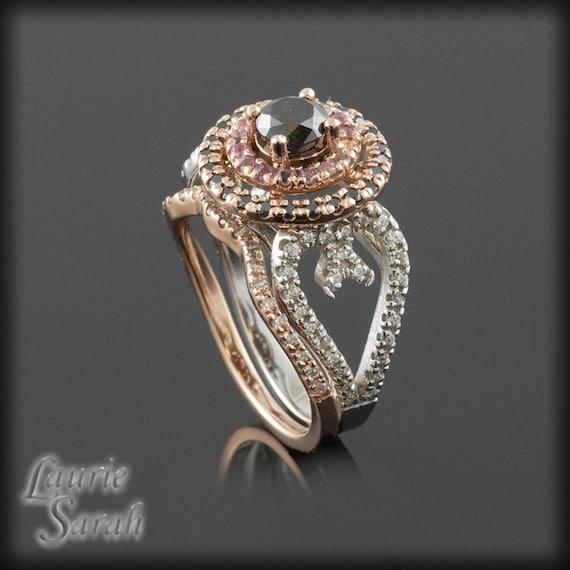 Black diamond rose gold engagement ring with amethysts black diamonds