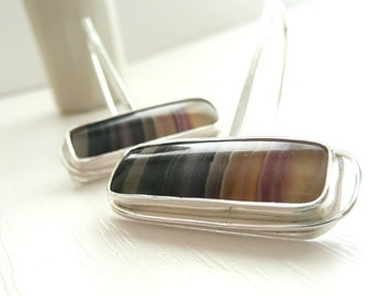 Striped Sterling Silver Dangle Earrings