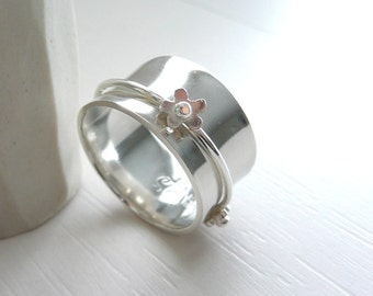 Romantic Daisy sterling Silver Spinner Ring
