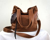 Agatha Fold Over in Carmel Brown Leather with Clip On Adjustable Strap