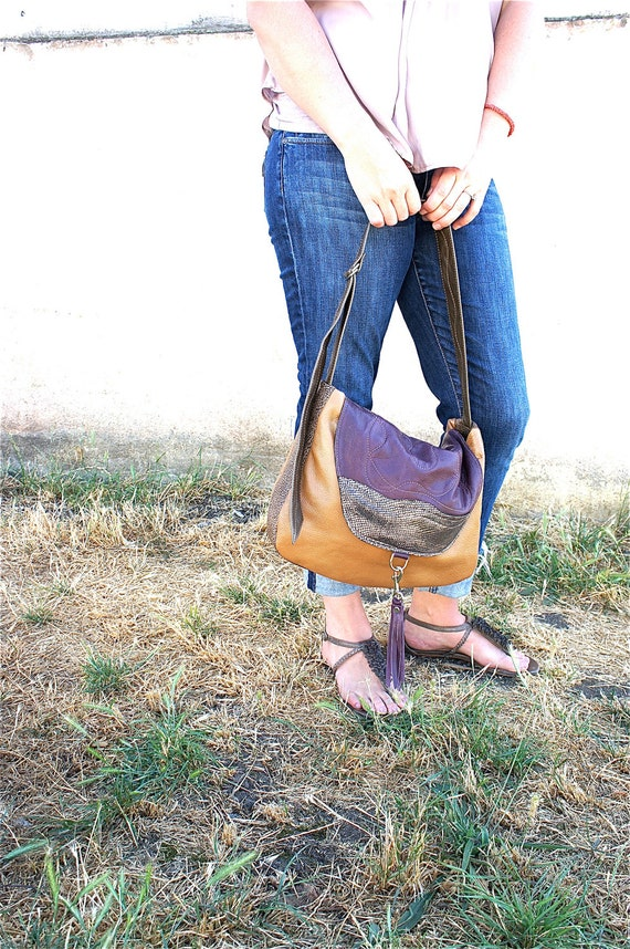 NEW///LAVINIA//// in Lambkin Mesh, Water Buffalo, and Deer Hide with Adjustable Messenger Strap