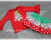 Christmas Tree Girl Outfit, Christmas Tree Tee & Skirt Outfit, Christmas Girl Holiday Outfit, Boutique Holiday Girl Clothes, Christmas Tree