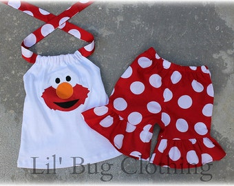 Elmo Sesame Street Outfit, Elmo Summer Short Halter Top Outfit, Elmo Birthday Party Girl Outfit, Boutique Girl Clothes