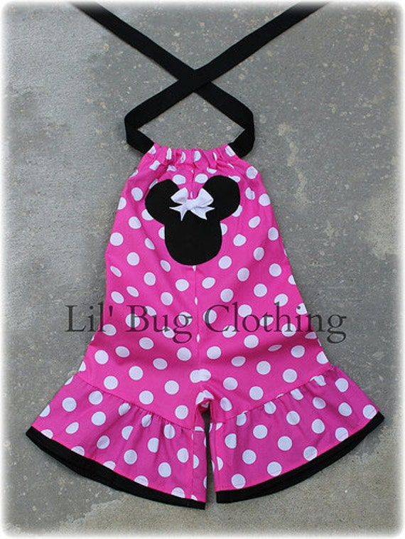Custom Boutique Clothing Minnie  Hot Pink Mouse Mouse Shortall