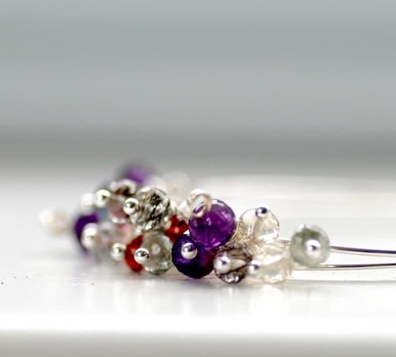 Gemstone Hoop Earrings, Amethyst, Garnet, Tourmaline, Citrine, Iolite, Aquamarine, Sterling Silver - Fleur