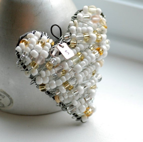 Personalized Ornament, Bridesmaid Gift, White and Ivory Wire Wrapped Beaded Heart, Stamped Initial, Lightcatcher or Decoration - Thank You