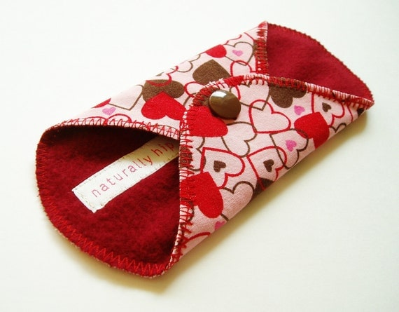 6in Cotton Panty Liner - Chocolate Hearts & Red - Cloth Menstrual Pad - Cloth Panty Liner