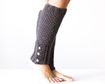 Dark Grey Knit legwarmers with buttons
