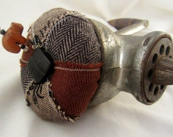 Vintage Wool Pincushion Rustic Farmhouse USA Meat Grinder RePurposed by Practical Elegance
