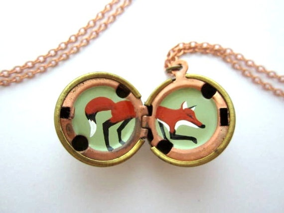 Fox Locket - Hand-Painted in Oil - Bright Red, Black and White, and Mint Green in a Vintage Brass Ball