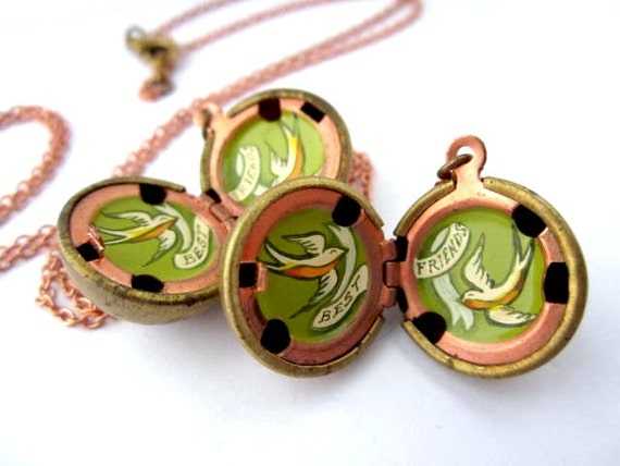 Best Friends Lockets - Two Vintage Stock Brass Lockets with Old-Fashioned Tattoo-Style Birds and Banners - One of a Kind Gift