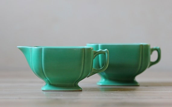 mint porcelain sugar and creamer set