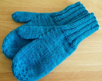 MITTENS HAND KNIT Adult Wool Turquoise