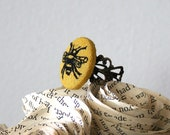 Hand Embroidered Adjustable Filigree Ring in Antiqued Bronze - Mustard Yellow Bumble Bee