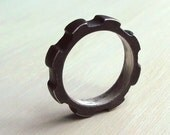 Thick Gear Ring - Size 10 - Oxidized - Sterling Silver - Gears - Rustic - Statement Ring - Urban - Nuts and Bolts Jewelry - Mens Gear Ring