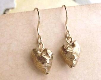 Heart Earrings - Brass - Heart Drops - Rustic - Beveled - Cottage Chic - Asymmetrical - Heart Drop Earrings