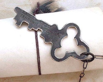 Black Key Necklace - Sterling SIlver Key - Oxidized - Skeleton Key - Vintage Inspired - Rustic - Industrial Chic - Steampunk Jewelry