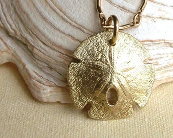 Sand Dollar Necklace - Brass - Nature Inspired - Organic - Natural - Cottage Chic - Sea Biscuit - Beach Jewelry - Bumpy -Sand Dollar Jewelry