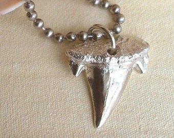 Shark Tooth Necklace - Sterling Silver - Nautical - Organic - Mens - Unisex - Beach Inspired - Detailed - Beach Jewelry - Shark Jewelry