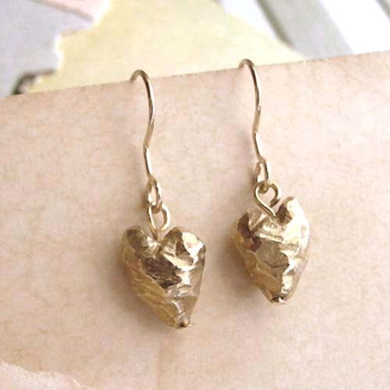 Heart Earrings - Brass - Heart Drops - Rustic - Beveled - Cottage Chic - Asymmetrical - Heart Drop Earrings